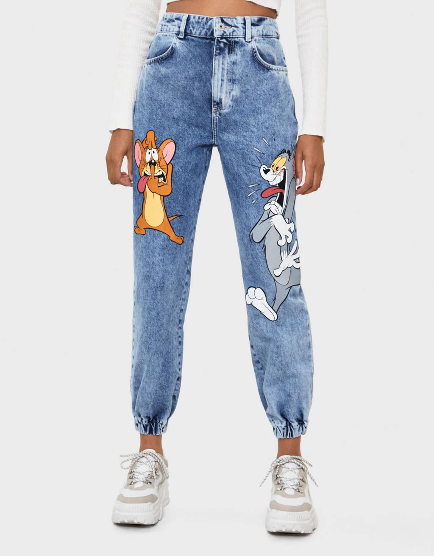 Jeans Jogger Tom Jerry Bershka De Denim De Color Azul Lyst