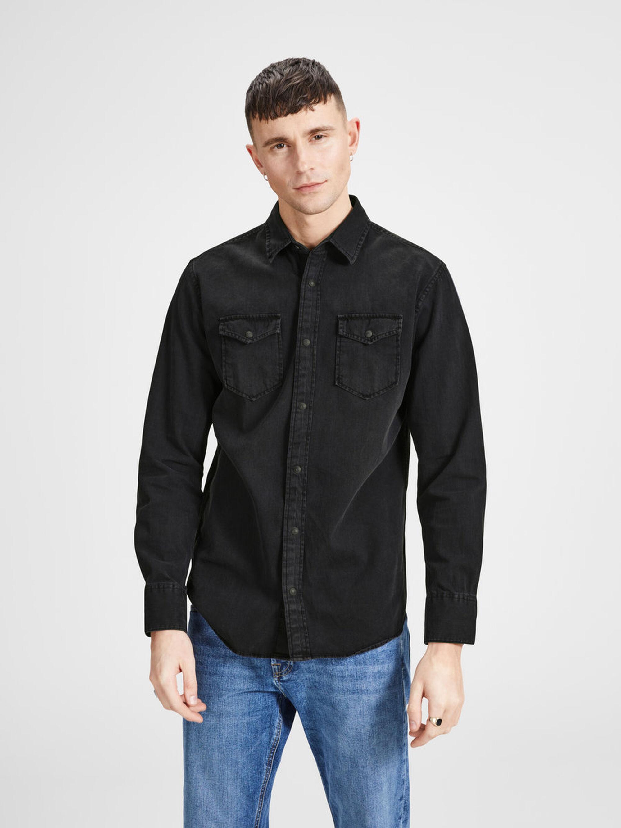 Jack & Jones Denim Must Have Overhemd in het Zwart voor heren