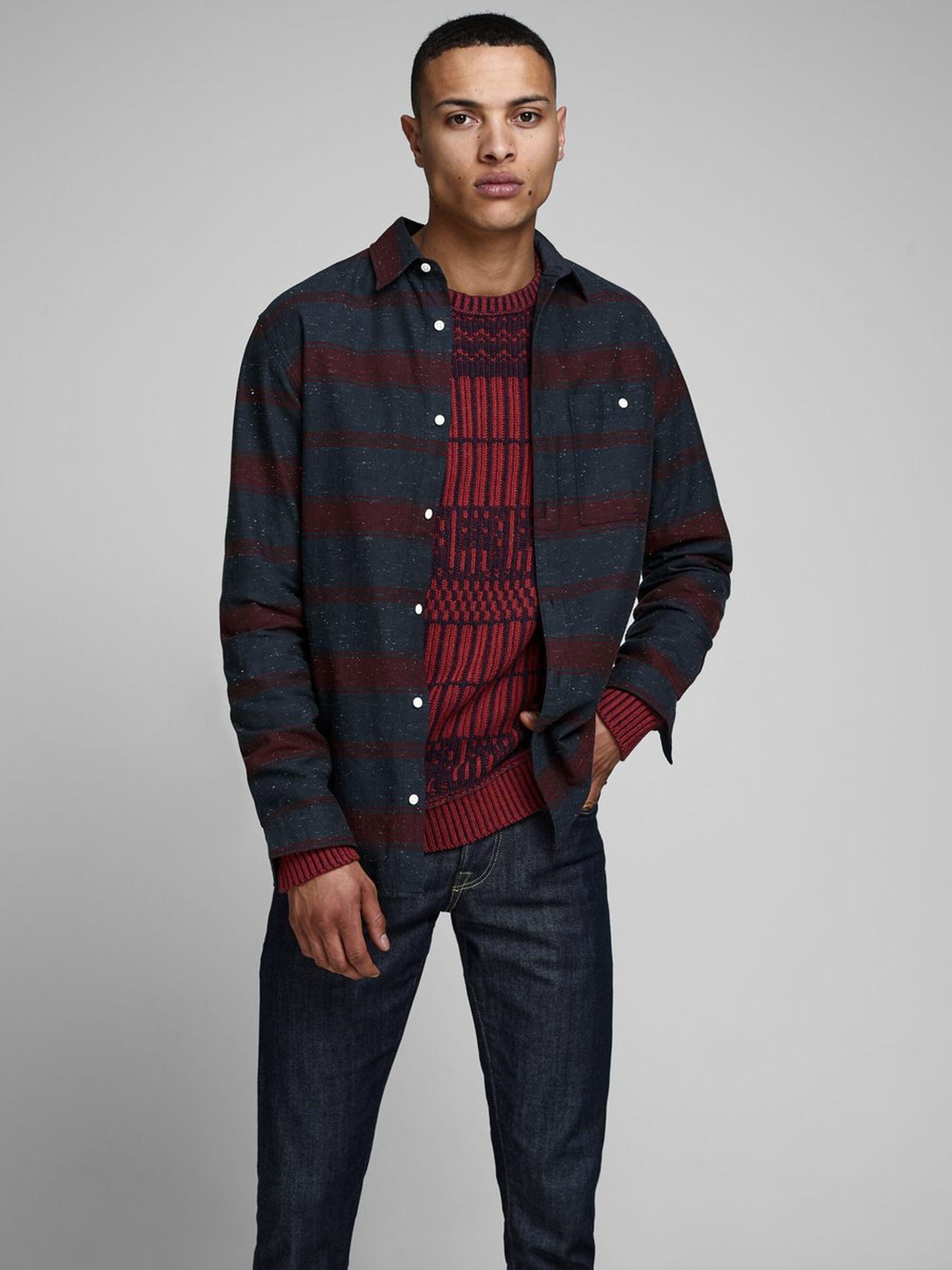 Jack & Jones Gedessineerd Overhemd in het Rood voor heren