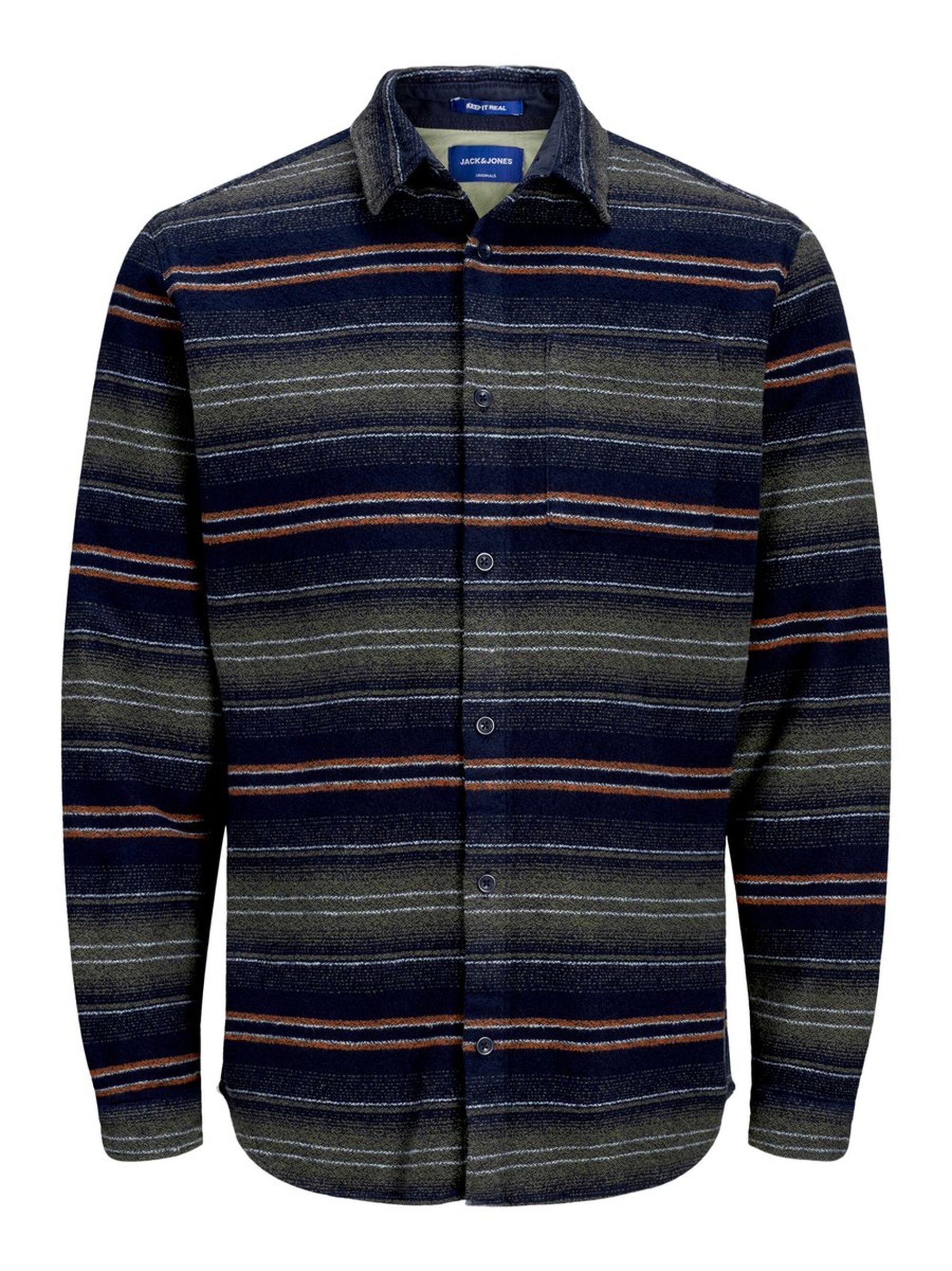 Jack & Jones Gestreept Jacquard Overhemd in het Blauw voor heren
