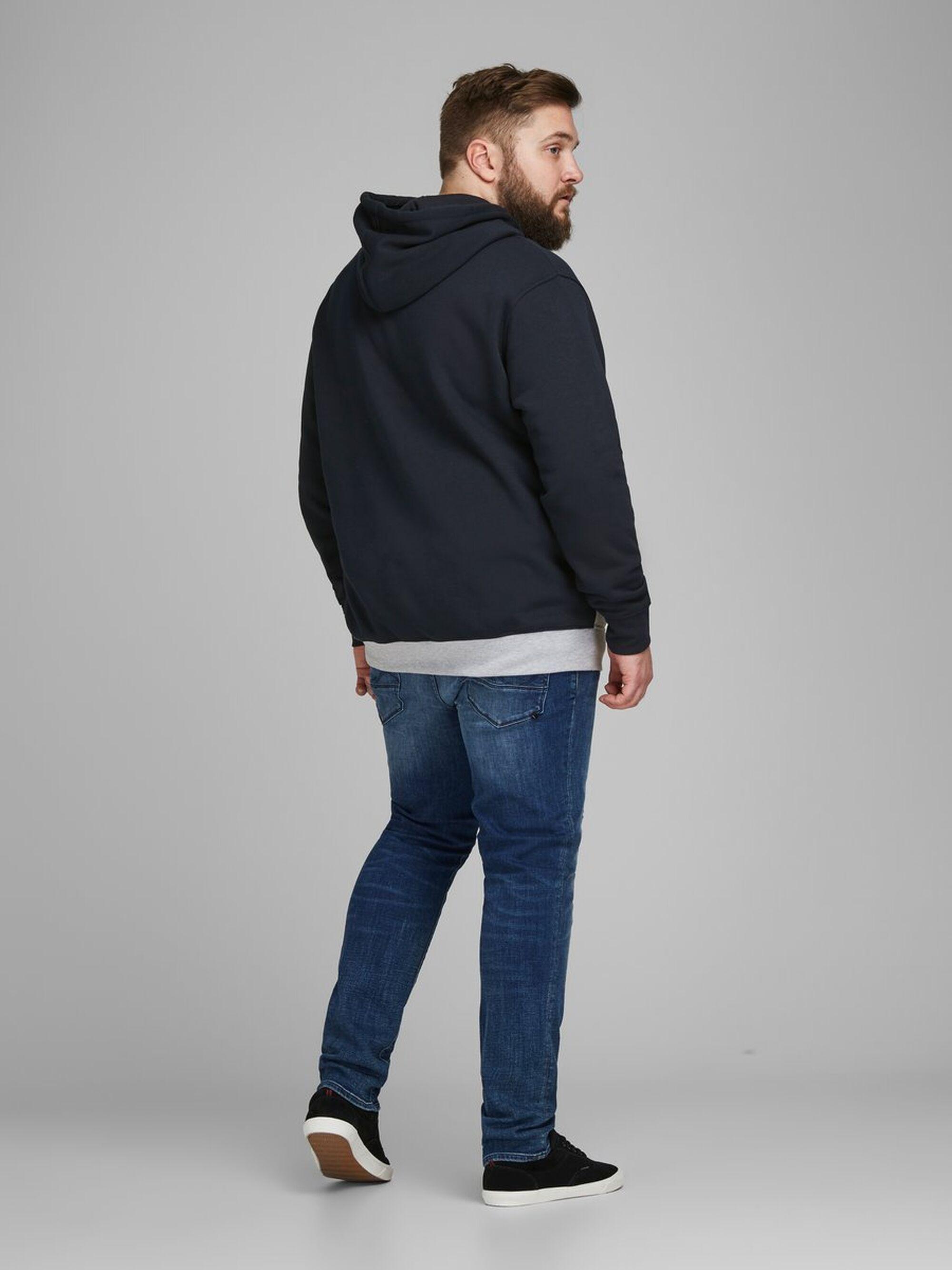 Jack & Jones Fleece Colourblock Plus-size Hoodie in het Blauw voor heren