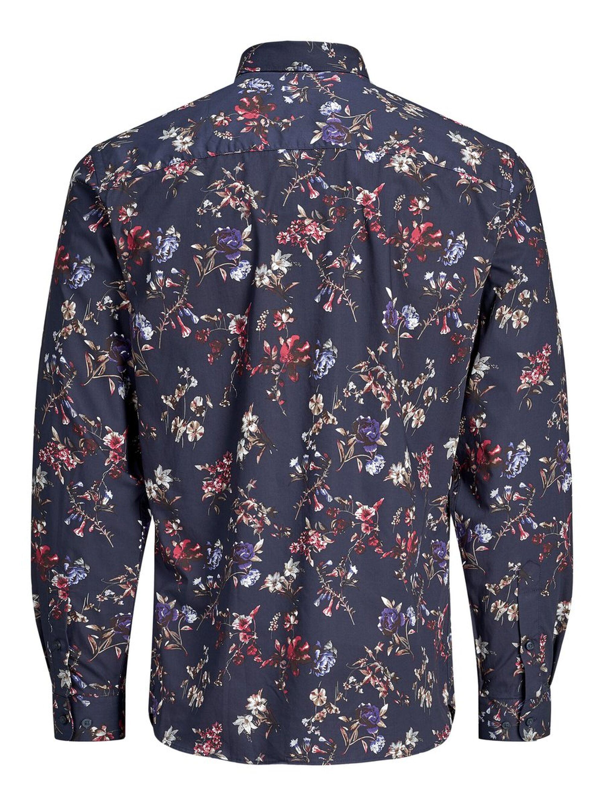 Jack & Jones Gebloemd Cutaway Overhemd in het Blauw voor heren