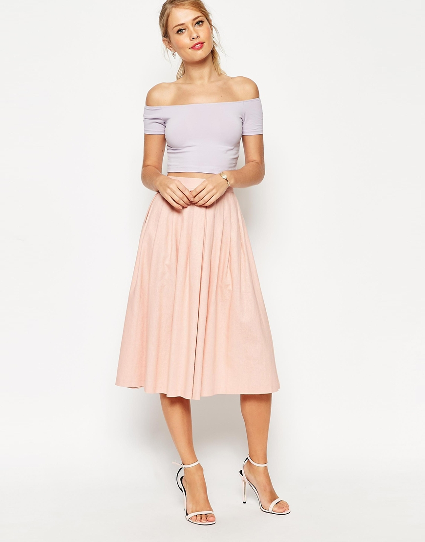 88cb4c5a9633 Lyst - ASOS Pleated Midi Linen Skirt in Natural