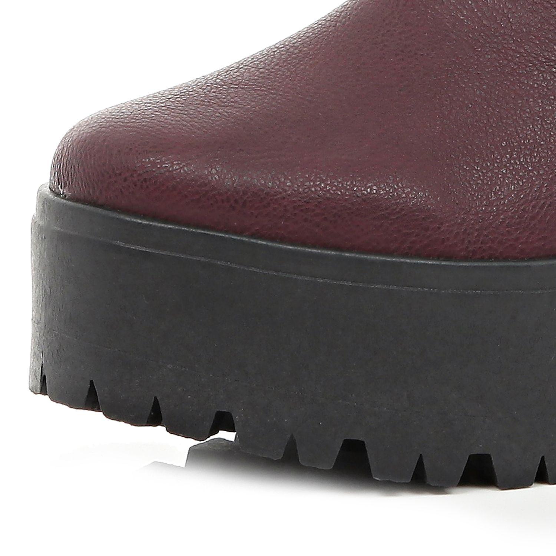 River Island Dark Red Chunky Platform Chelsea Boots