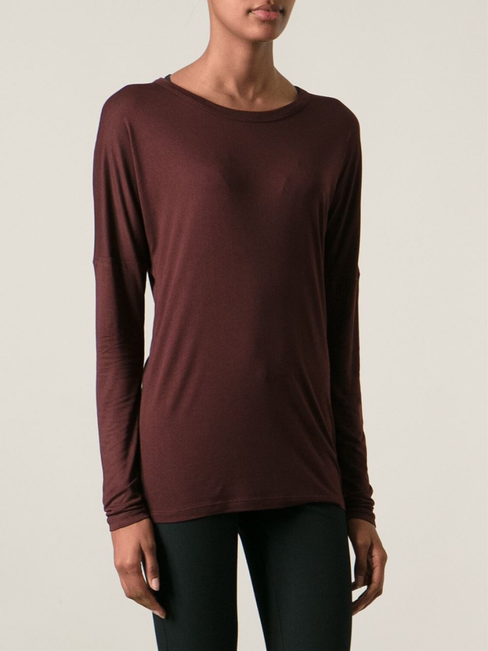 Joseph scoop neck t shirt in red lyst for Scoop neck t shirt