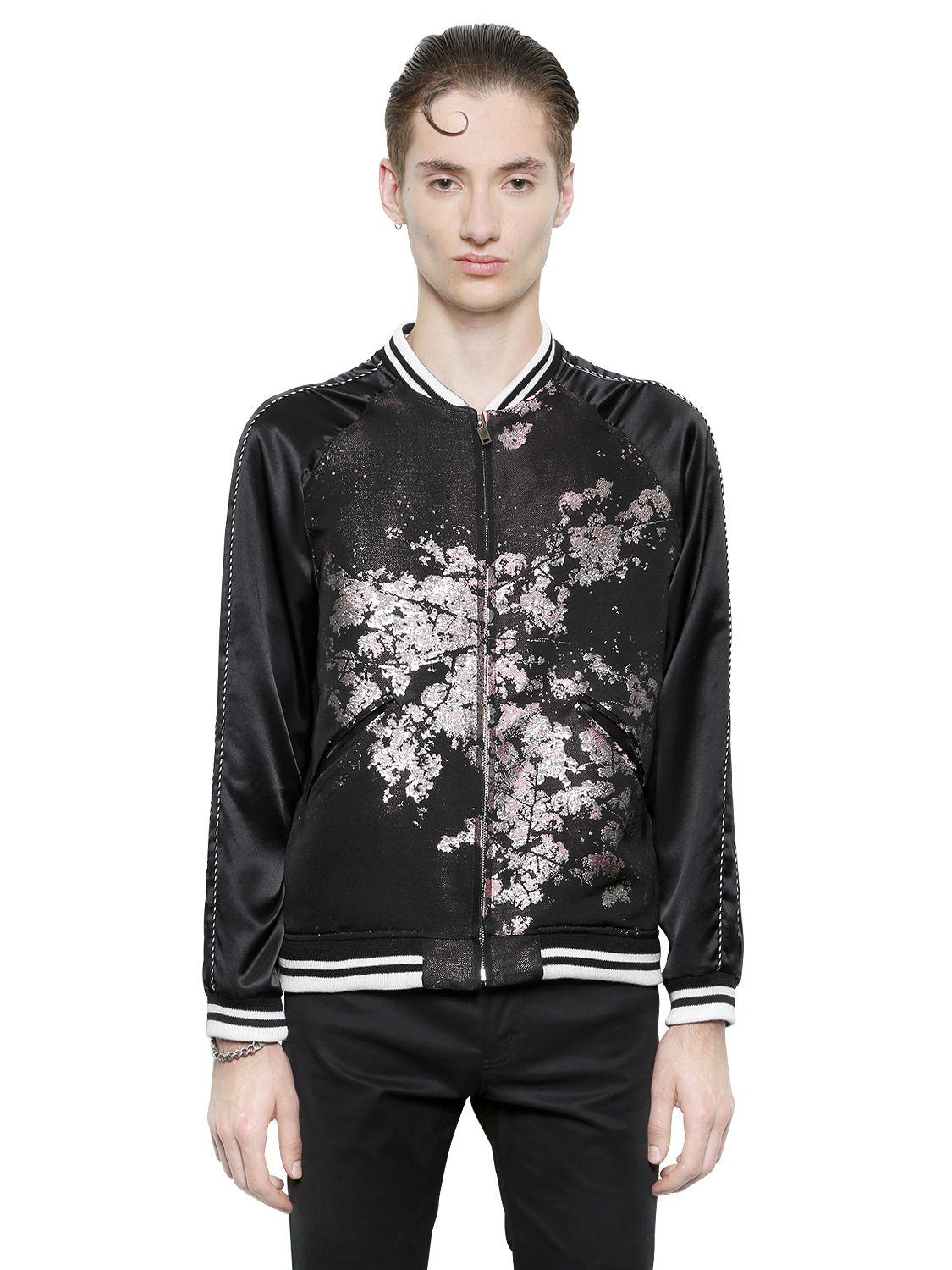 Christian dada Japanese Silk Jacquard Bomber Jacket in Black for ...