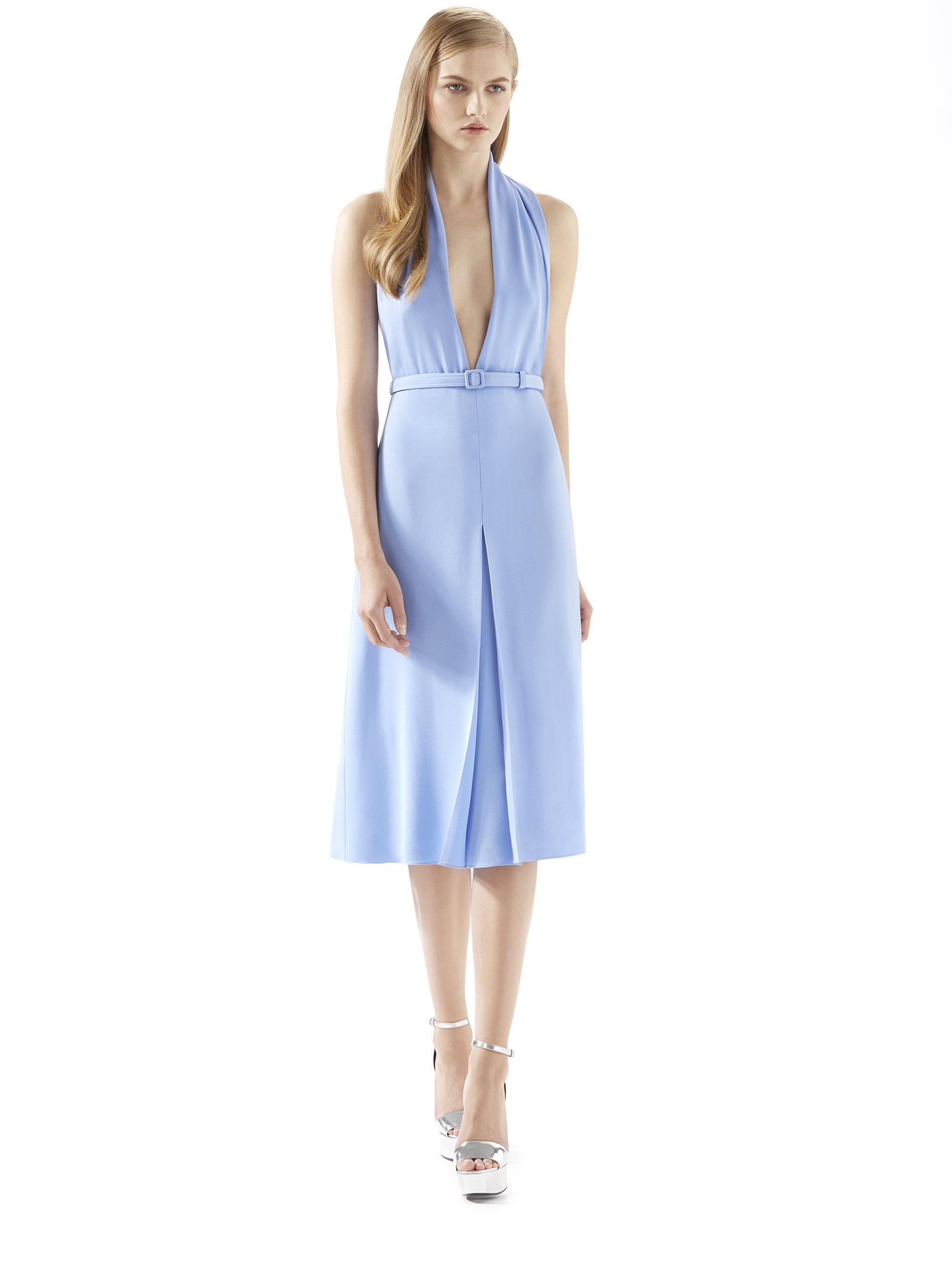 Gucci Light Blue Silk Crepe Dress in Blue | Lyst