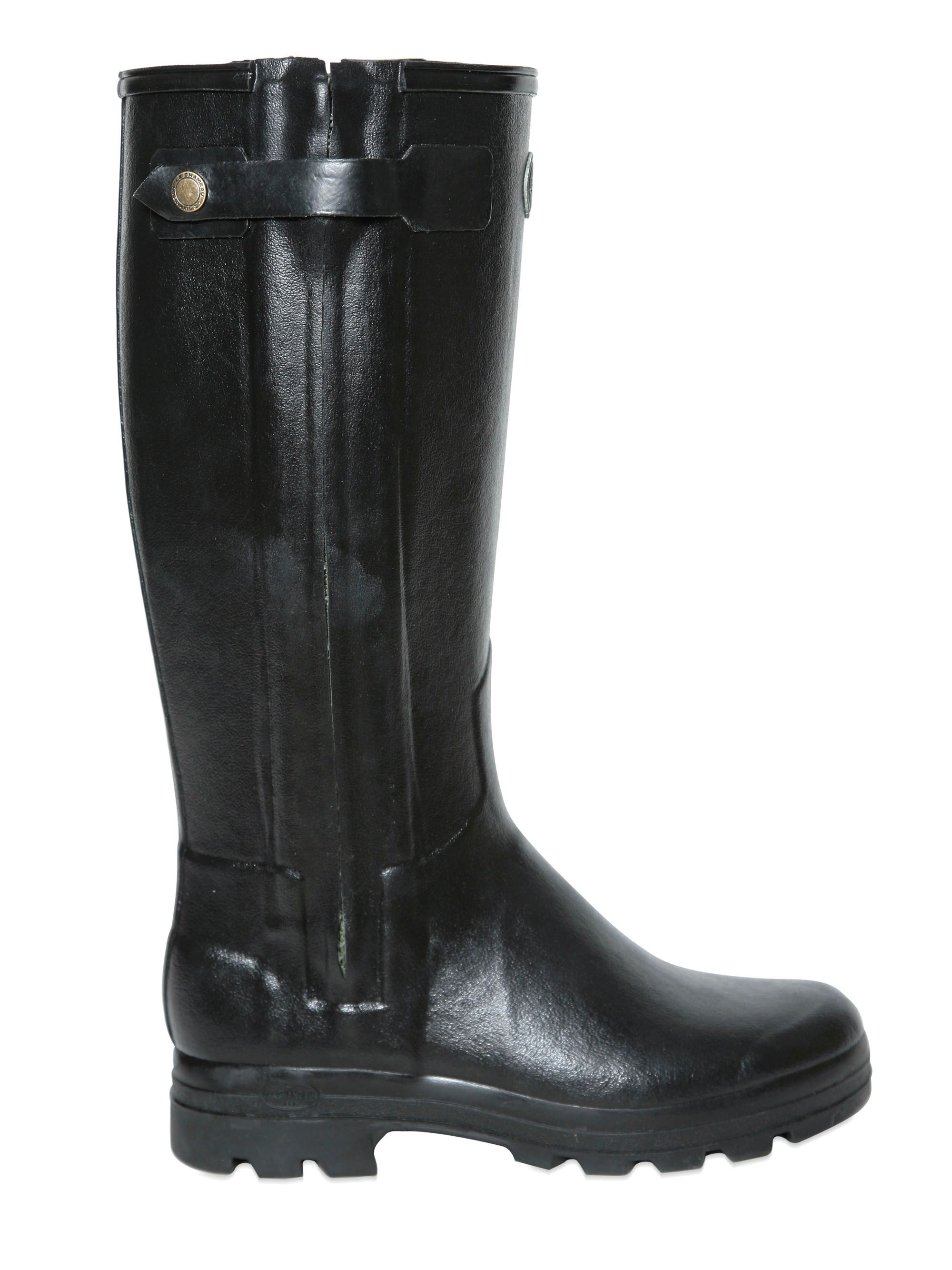 Le Chameau Natural Rubber Leather Rain Boots In Black For