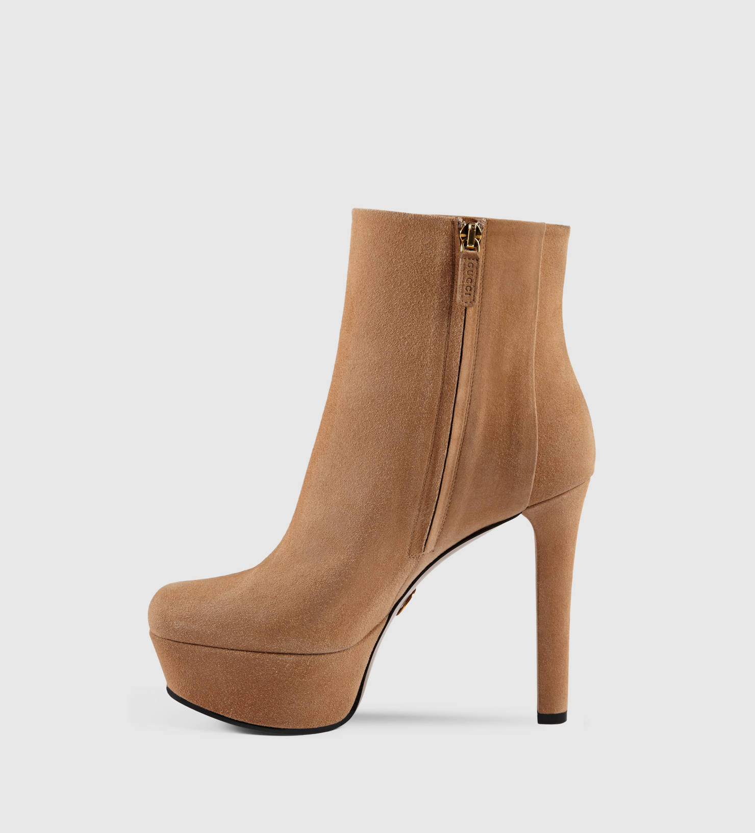 gucci leila suede platform ankle boot in brown lyst