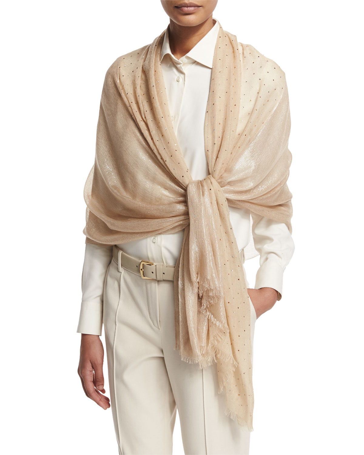 cc157172e6dd6 Loro Piana Crystal Drop Cashmere-blend Stole in Pink - Lyst