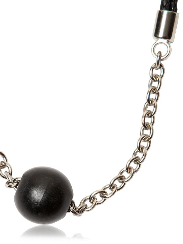 Tom Rebl Ball Pendent Woven Leather Necklace in Black for Men