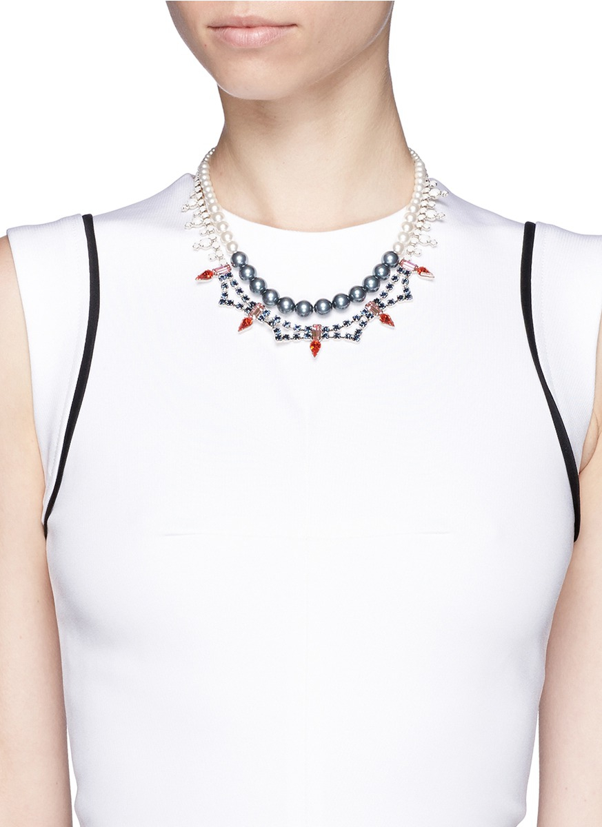 Joomi Lim Crystal Pearl Double Strand Necklace in Blue