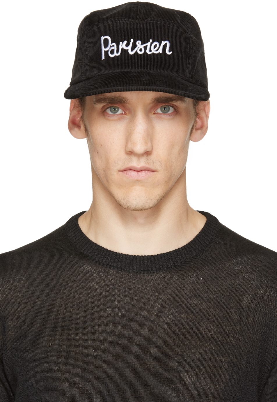 Lyst - Maison Kitsuné Black Corduroy Parisien Cap in Black for Men bf6a0383f37