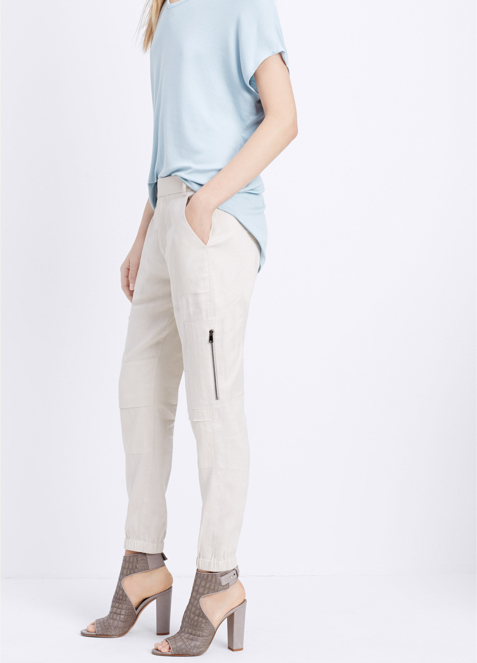 Lyst - Vince Stretch Linen Cargo Pant in Natural 301a457d0c
