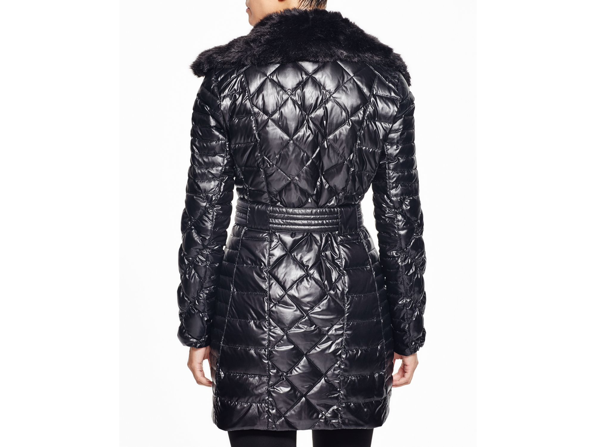 Via Spiga Faux Fur Trim Quilted Coat In Black Lyst
