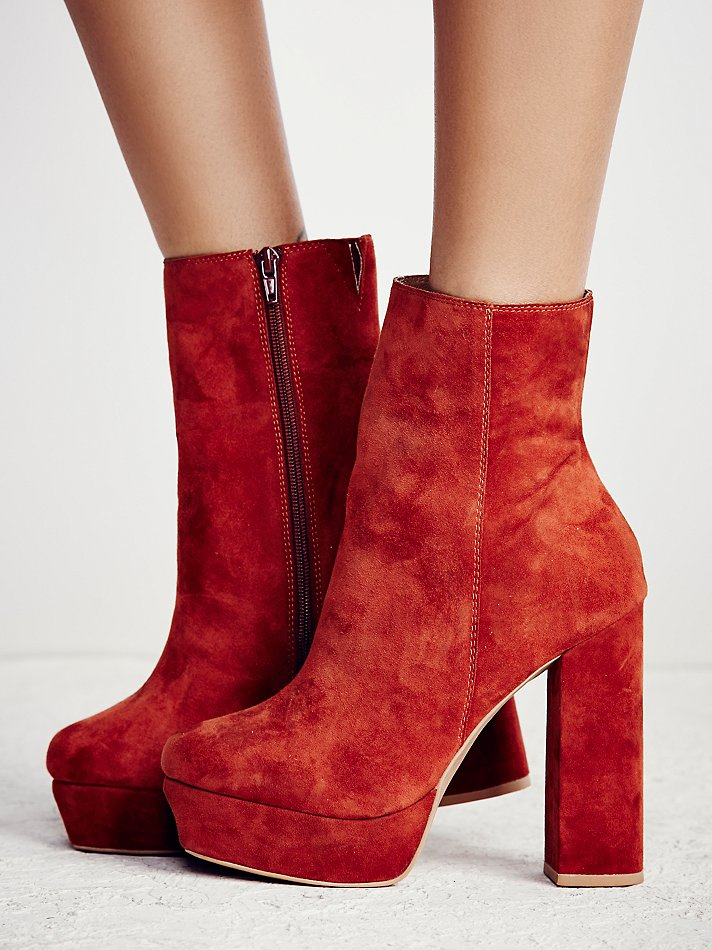 Lyst Free People Skyline Platform Ankle Boots In Brown