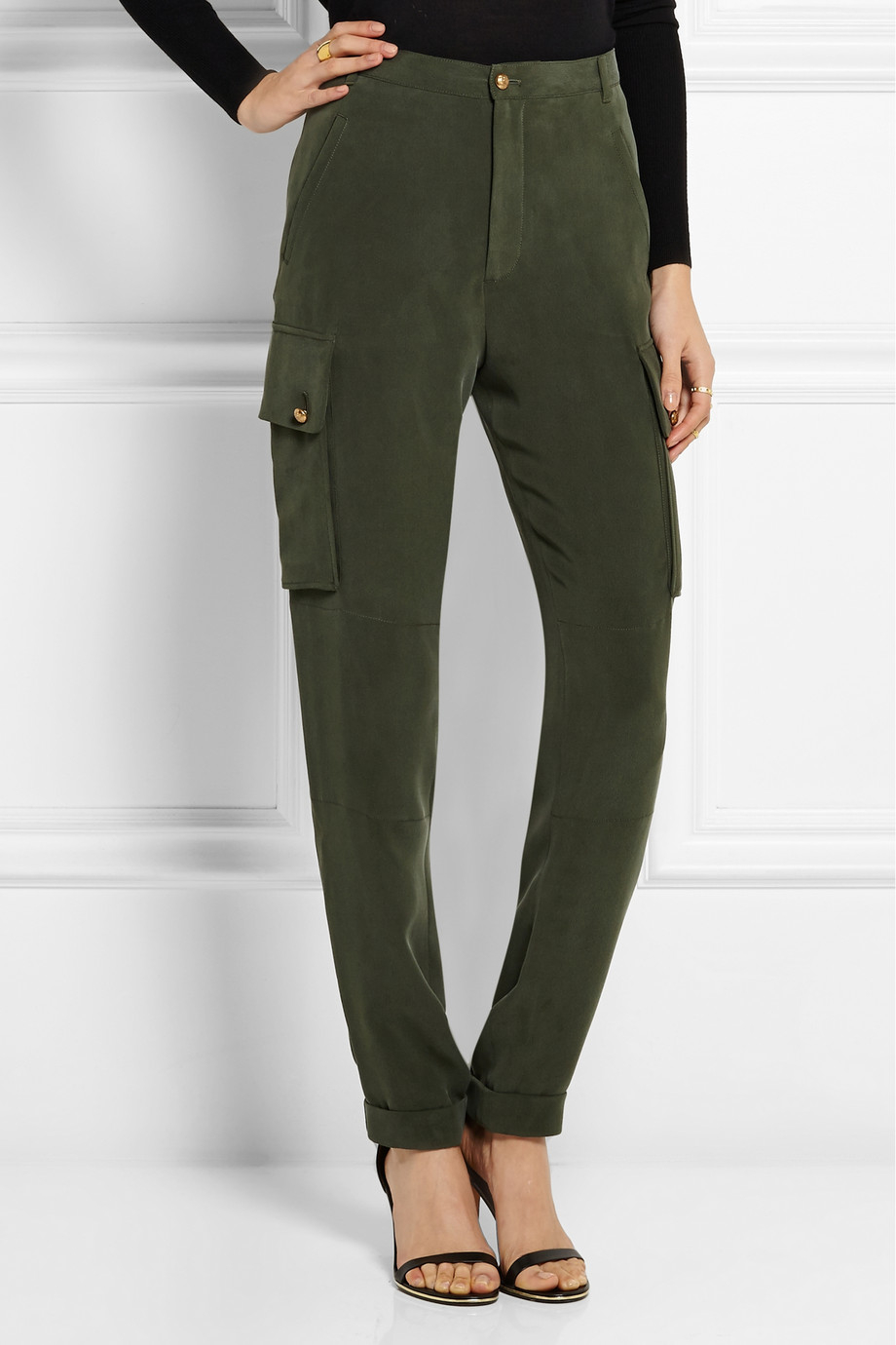 Joseph Commando Washed Silk-Crepe Cargo Pants in Green
