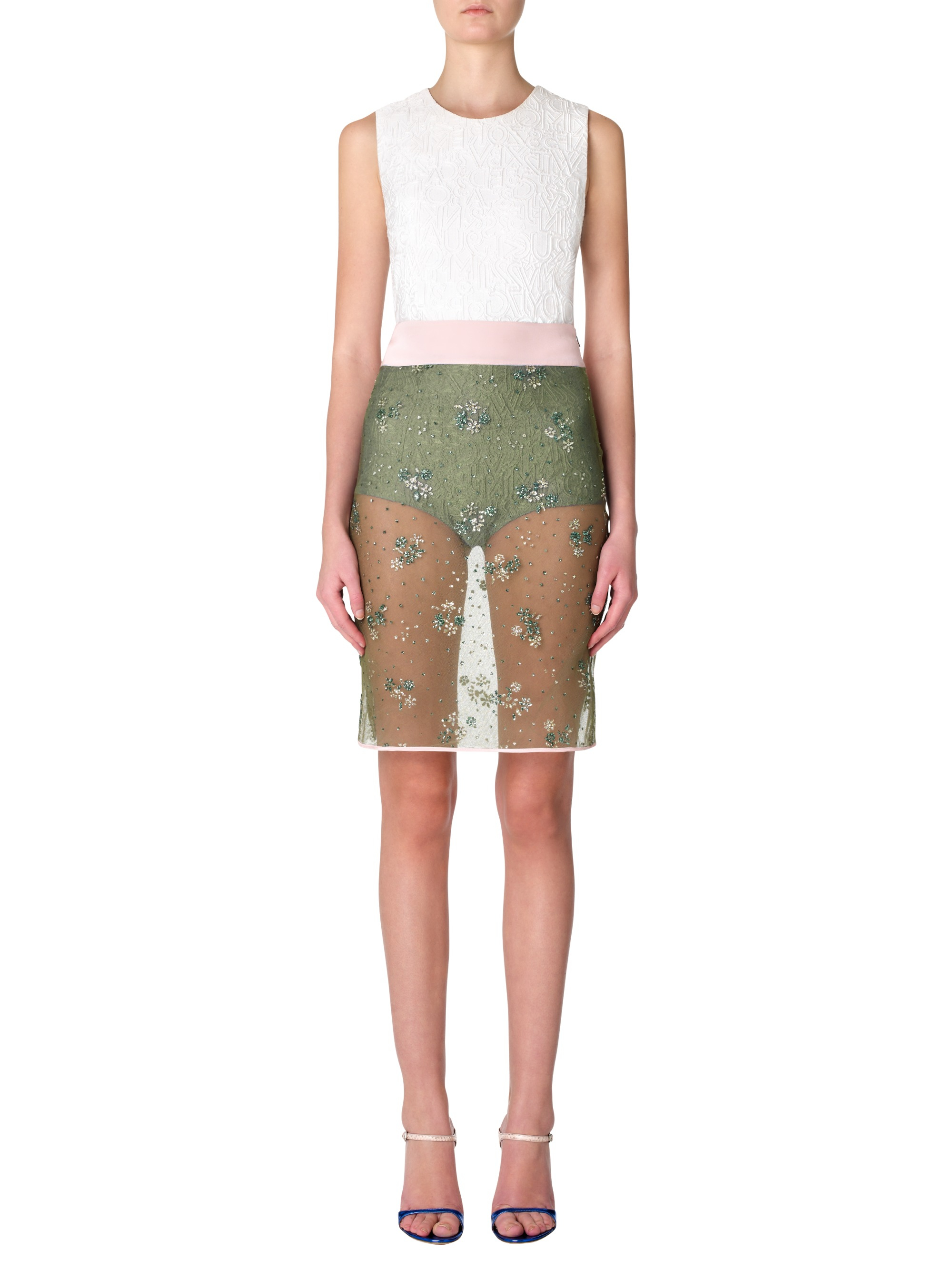 katrantzou glitter pencil skirt floral bronze in