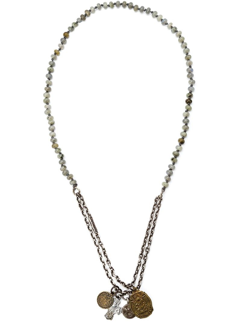 Lyst M Cohen Beaded Charm Necklace In Metallic For Men