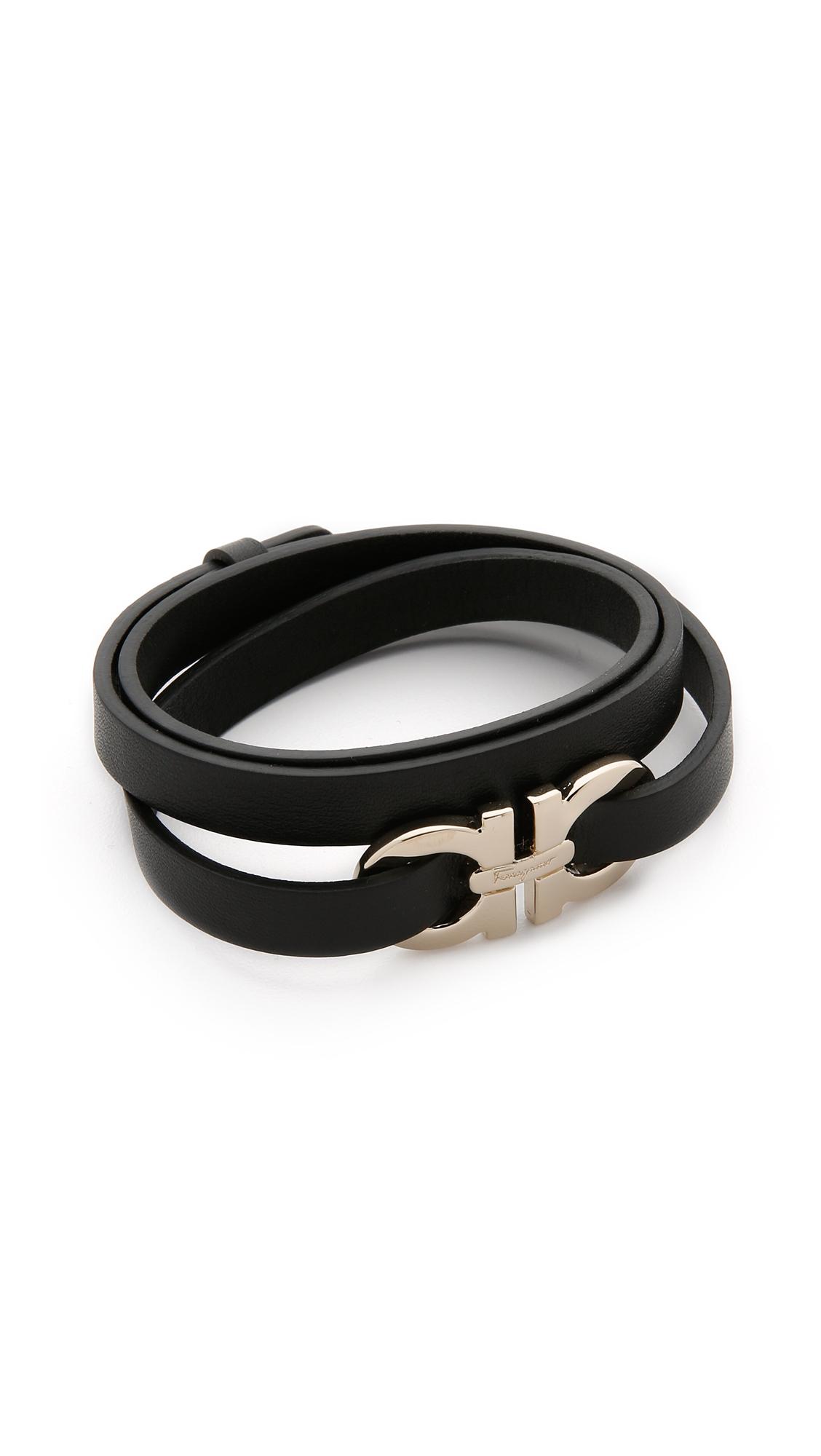 miglior sito web b5090 f9e61 Ferragamo Black Bracciali Gancio Wrap Bracelet - Nero