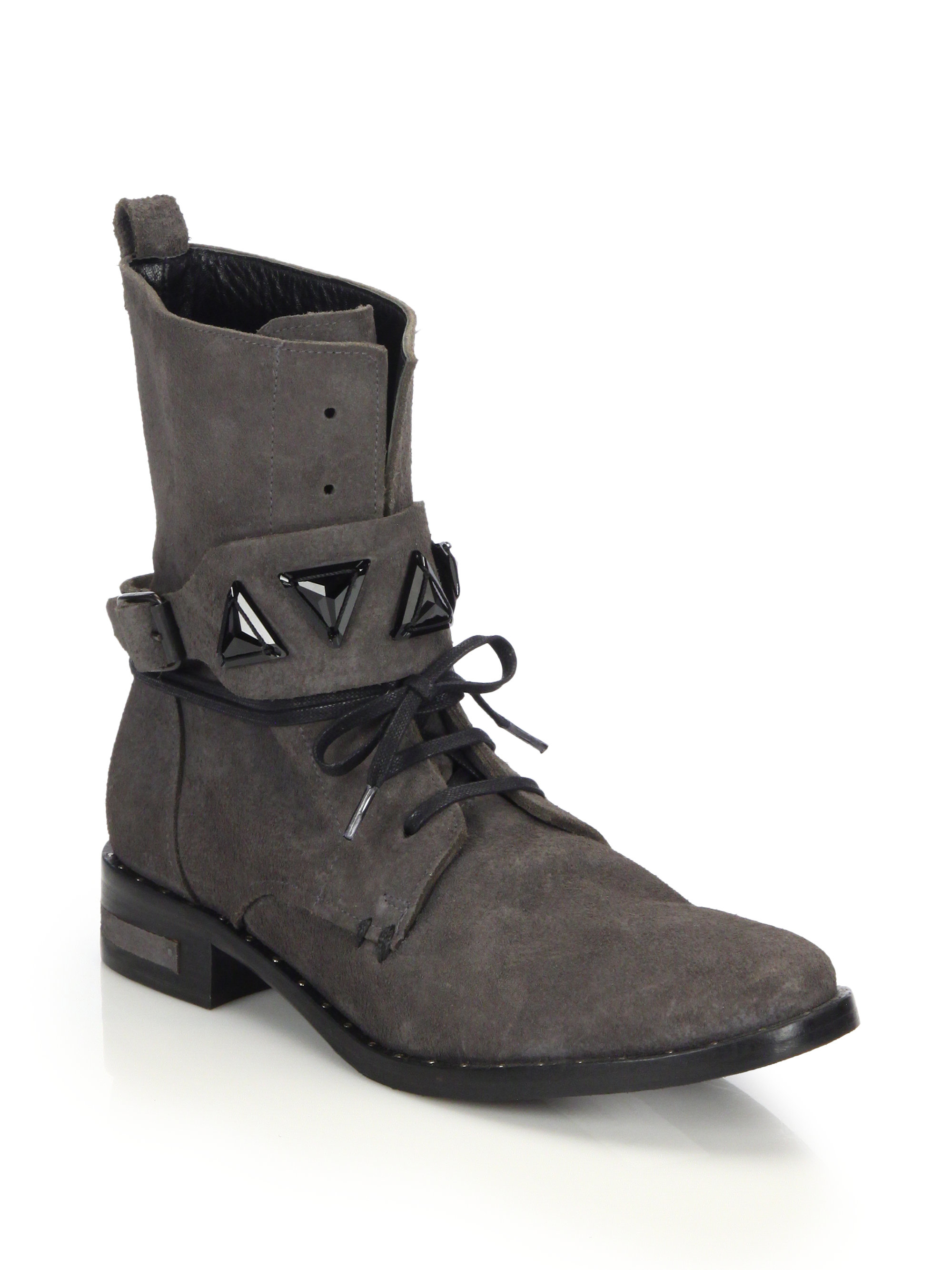 Creative West Blvd West Blvd Cario Combat Women Leather Gray Combat