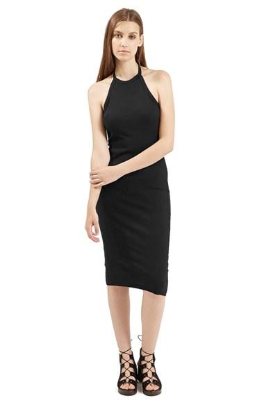 7f35accef97a5 TOPSHOP Halter Neck Midi Dress in Black - Lyst