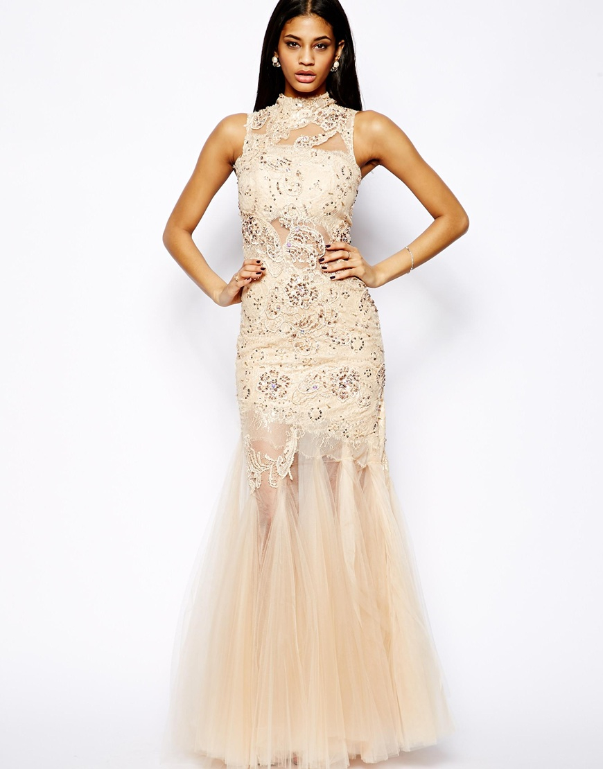 beige and black lace prom dress