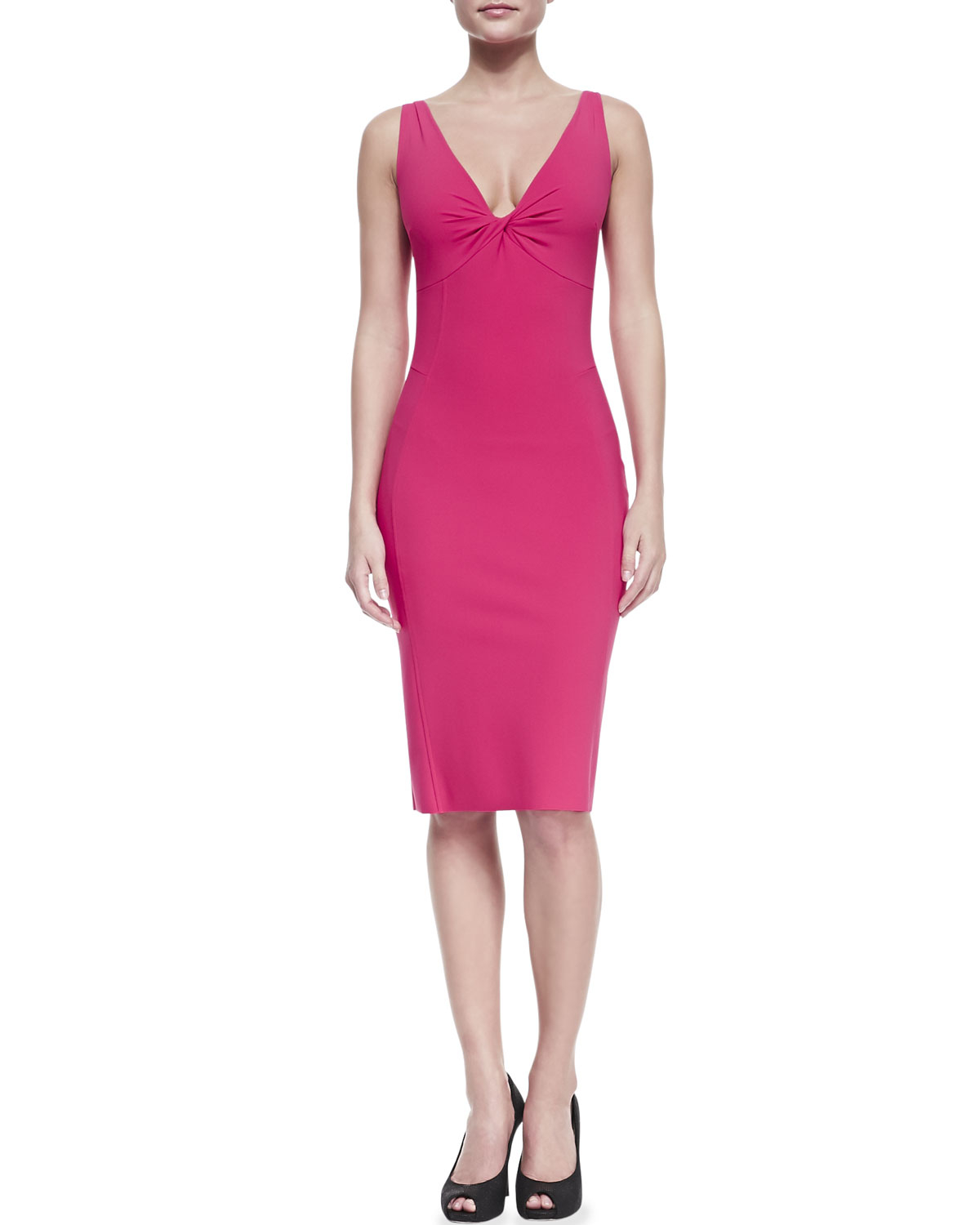 la petite robe di chiara boni sleeveless v neck fitted cocktail dress in pink lyst. Black Bedroom Furniture Sets. Home Design Ideas