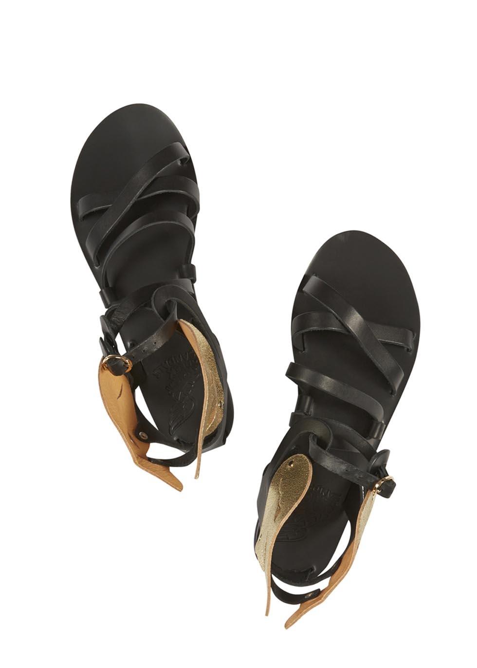 Ancient greek sandals Black Platinum Nephele Sandals in ...