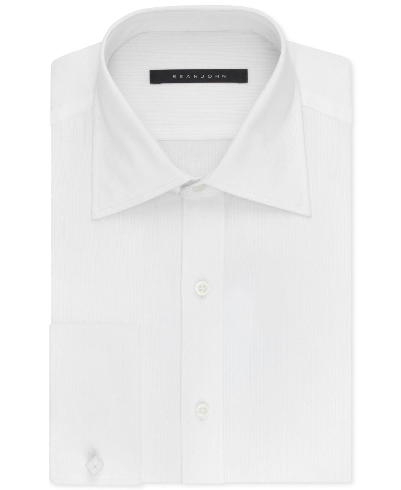 Sean john big and tall french cuff shirt in white for men for Big and tall french cuff dress shirts