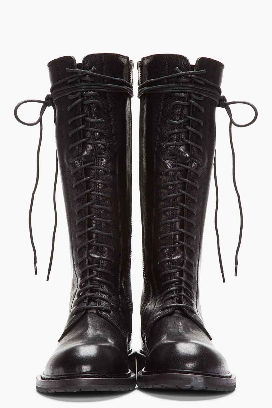 Best Tire Prices >> Ann Demeulemeester Tall Black Leather Lace_up Boots for ...
