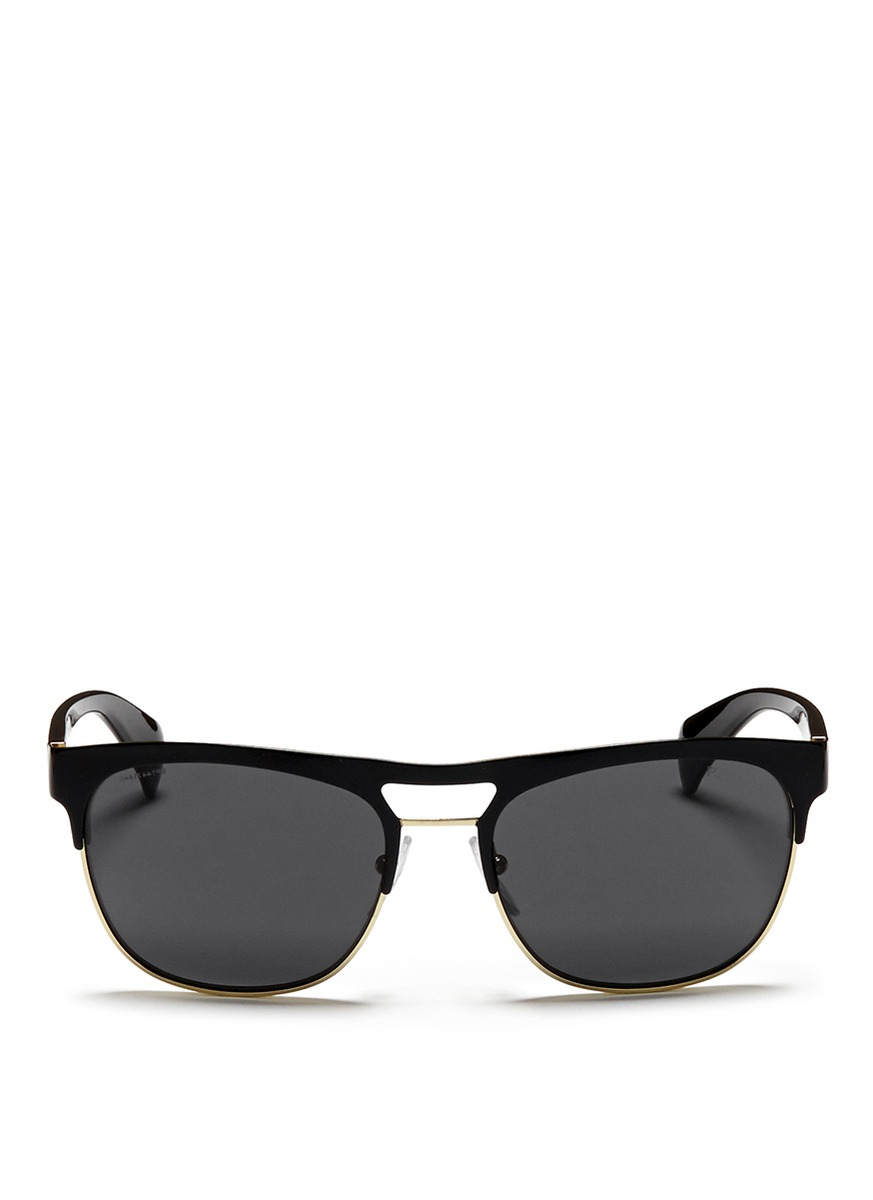 Prada Lacquered Browbar Wire Rim Sunglasses in Black for Men | Lyst - prada wallet black + lacquer red
