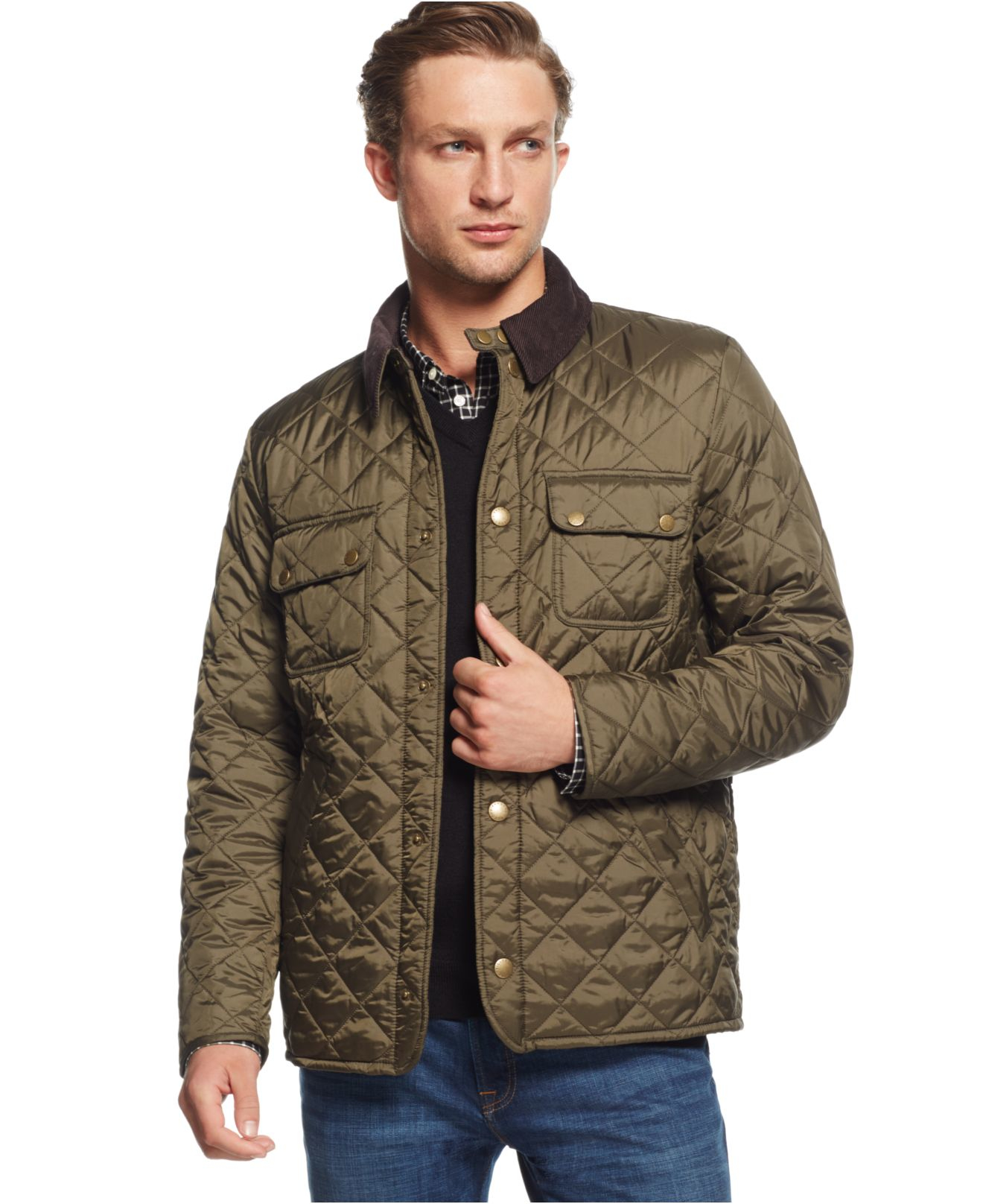 Barbour tinford quilted jacket in green for men olive lyst for Quilted jackets for men