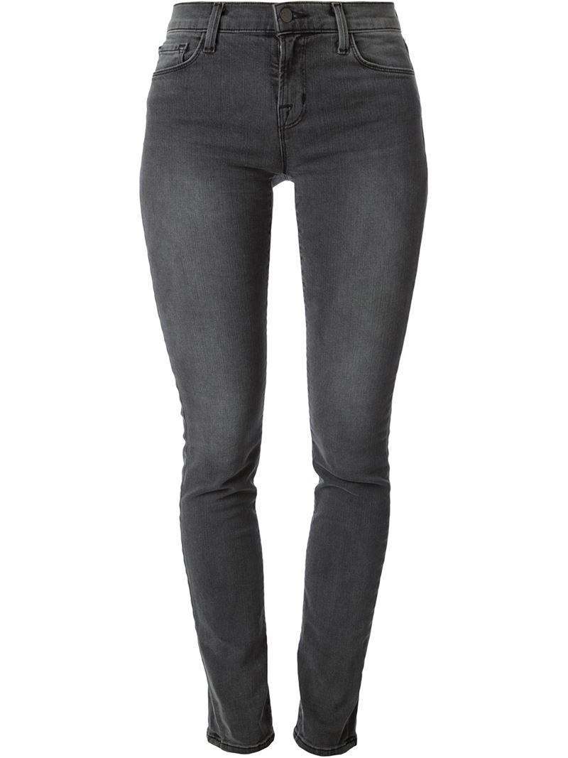 j brand skinny jeans in gray grey lyst. Black Bedroom Furniture Sets. Home Design Ideas