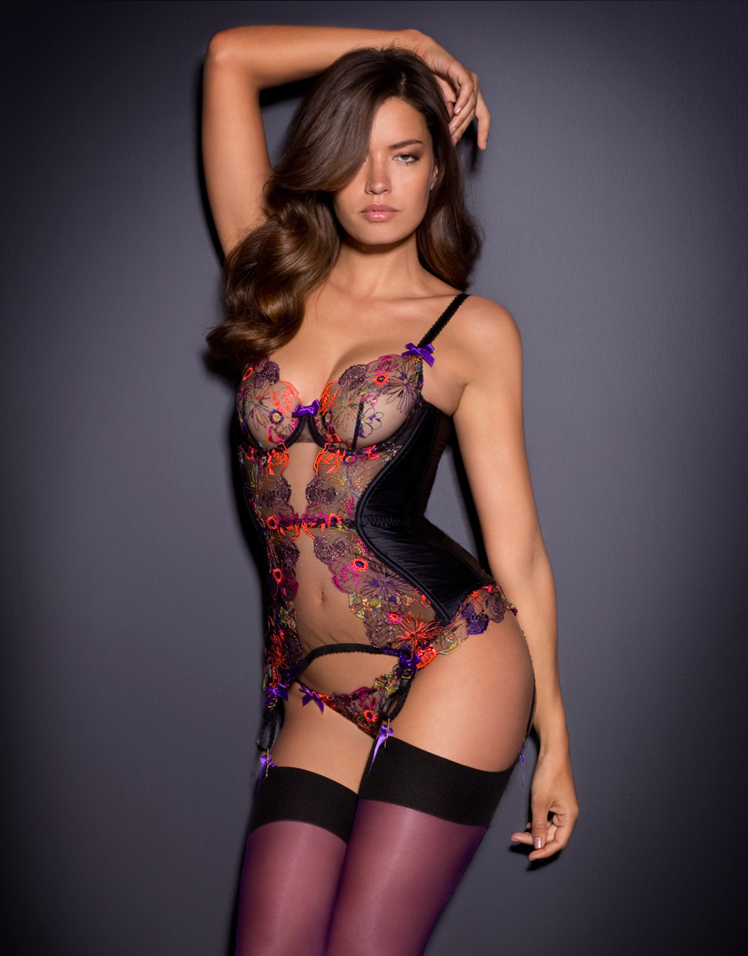 agent provocateur zuri basque black multi in black lyst. Black Bedroom Furniture Sets. Home Design Ideas