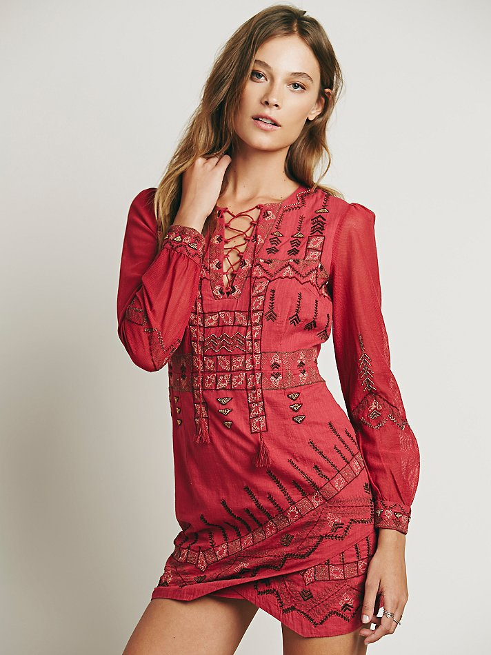 Free people Womens Stella Embroidered Dress in Pink  Lyst