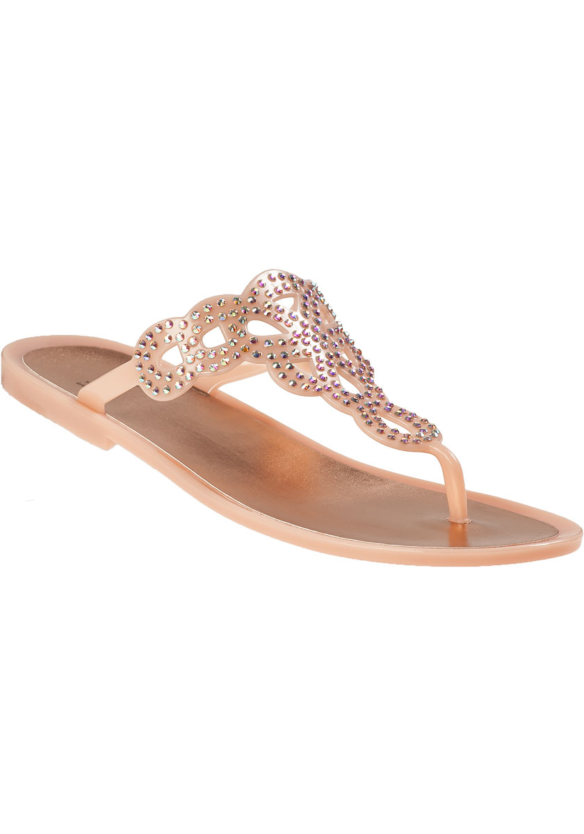 2b09b4b4852849 Lyst - Stuart Weitzman Mermaid Thong Sandal Rose Gold Jelly in Pink