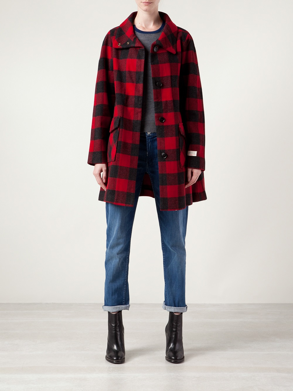 Woolrich Buffalo Plaid Coat In Red Lyst