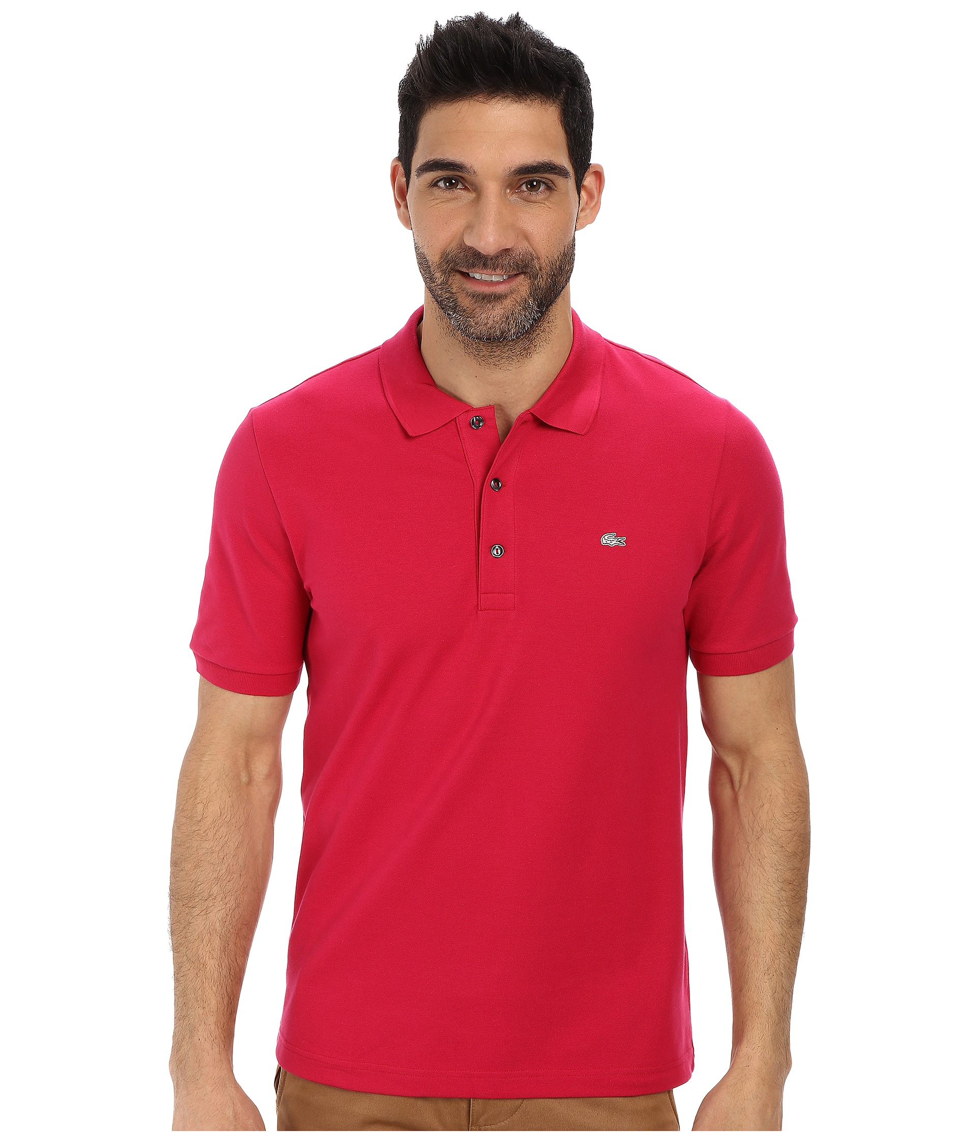 8142581e9 Lacoste Premium Short Sleeve Slim Fit Stretch Pique Polo Shirt in ...