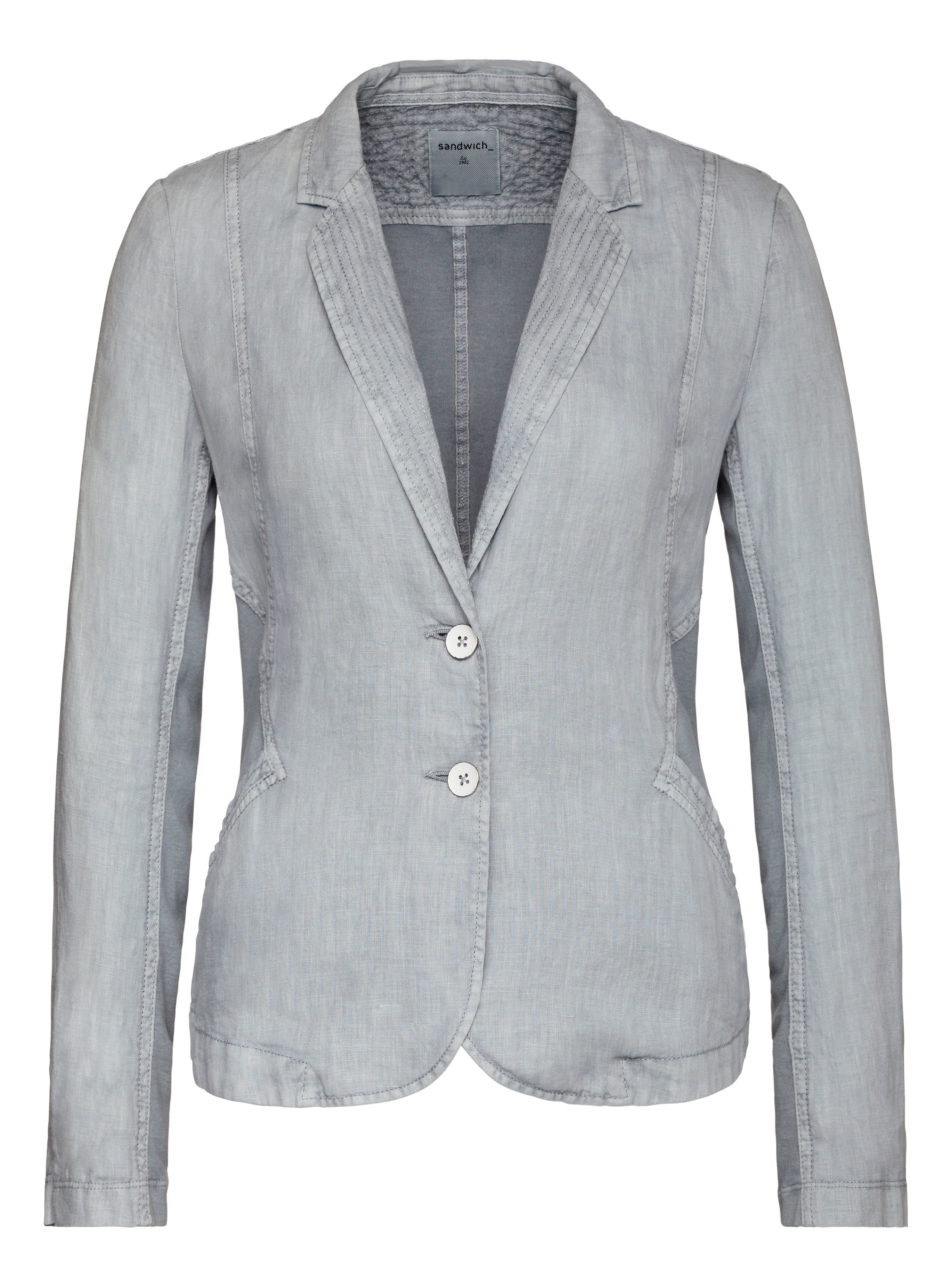 Bluish-grey linen jacket, features front detail that is made of rarely woven fabric from brown and light blue yarns. This detail matches the wide belt. Stylish and practical summer garment: stay warm with tied belt or beltless for a sizzling summer day.
