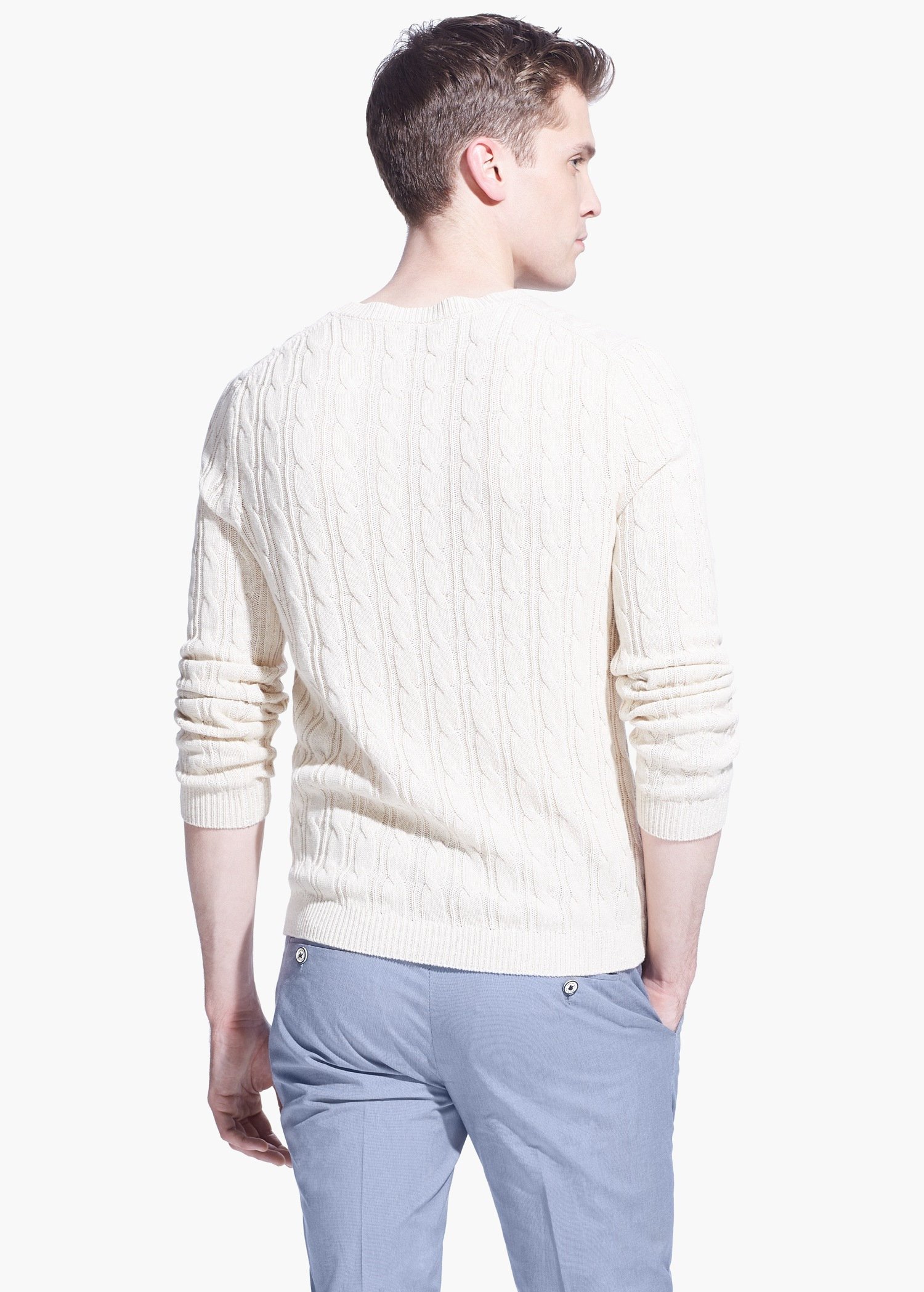 Mango Cable-Knit Cotton Sweater in Natural for Men | Lyst