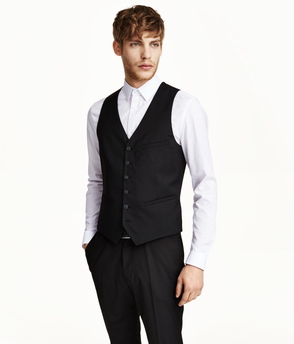 H&m Suit Waistcoat in Black for Men | Lyst