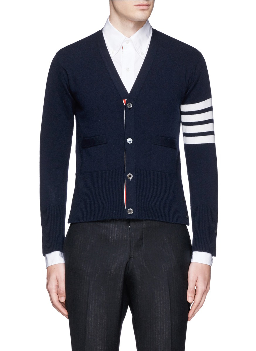 Thom browne Stripe Sleeve Cropped Cashmere Cardigan in Blue for ...