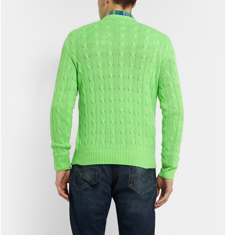 Polo ralph lauren Cable-Knit Cashmere Sweater in Green for Men | Lyst