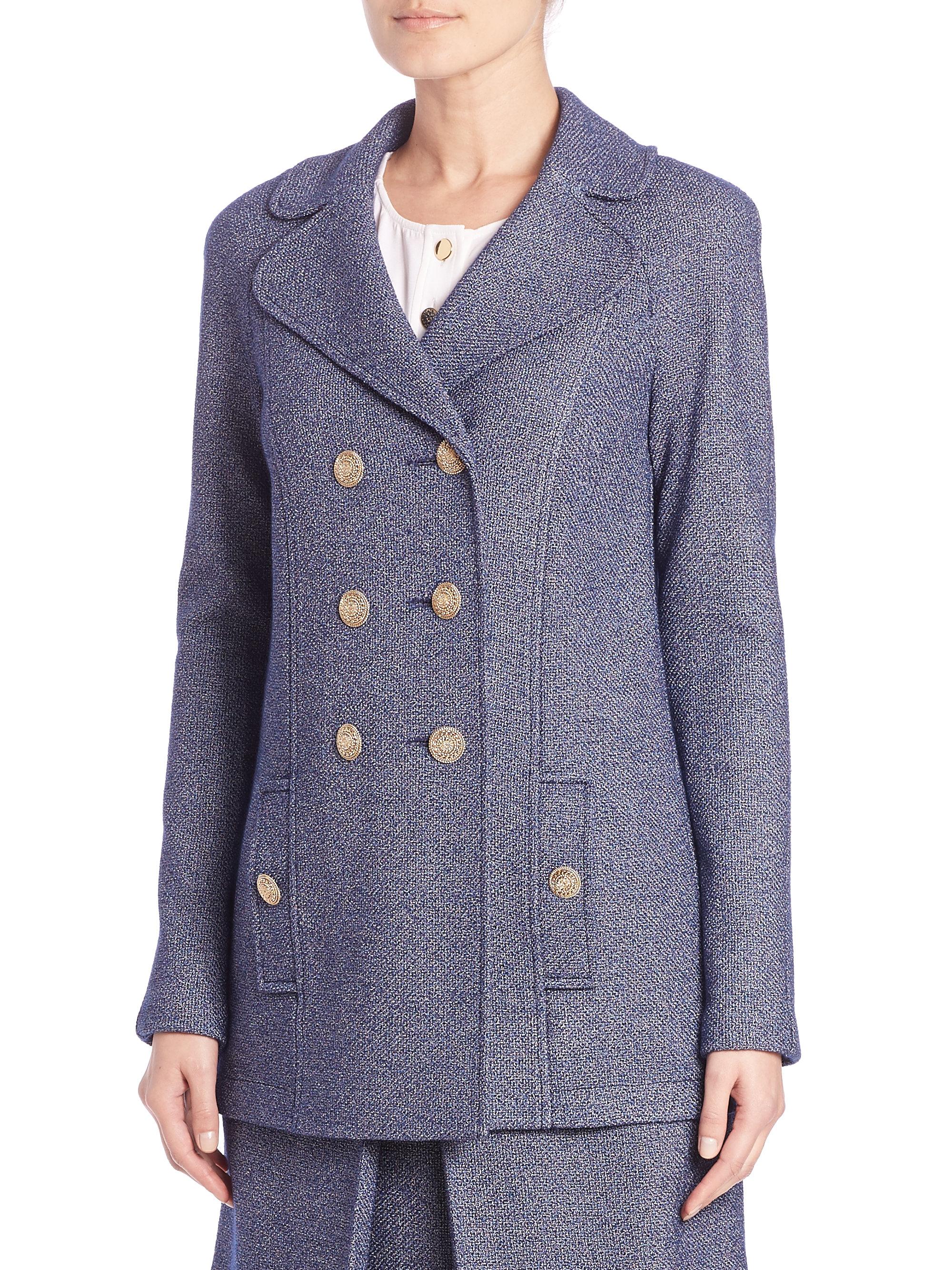 St. john Denim Boucle Knit Jacket in Blue Lyst
