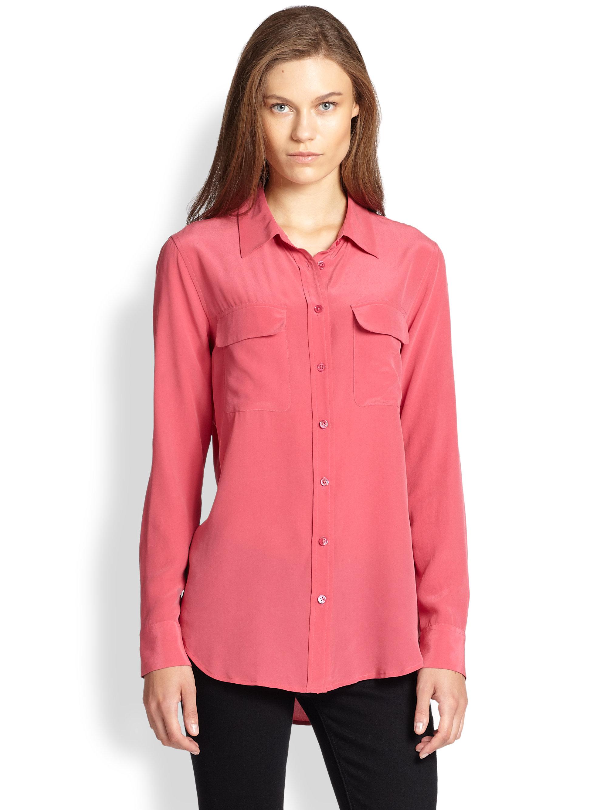 Equipment slim signature silk shirt in pink lyst for Equipment signature silk shirt