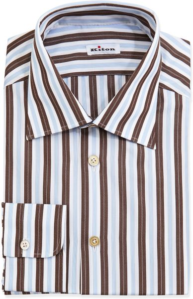 kiton woven striped dress shirt brown in brown for men lyst