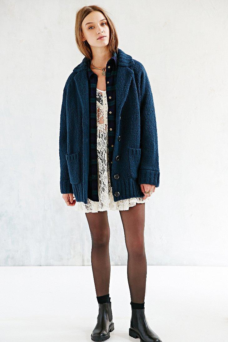 Bdg Cocoon Sweater Coat in Blue | Lyst