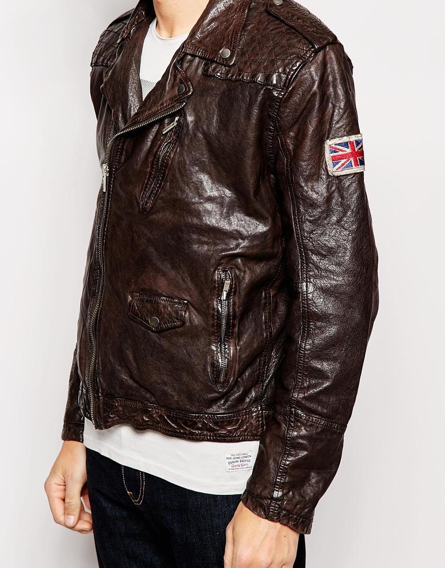 pepe jeans pepe leather jacket arcade biker vintage dip. Black Bedroom Furniture Sets. Home Design Ideas