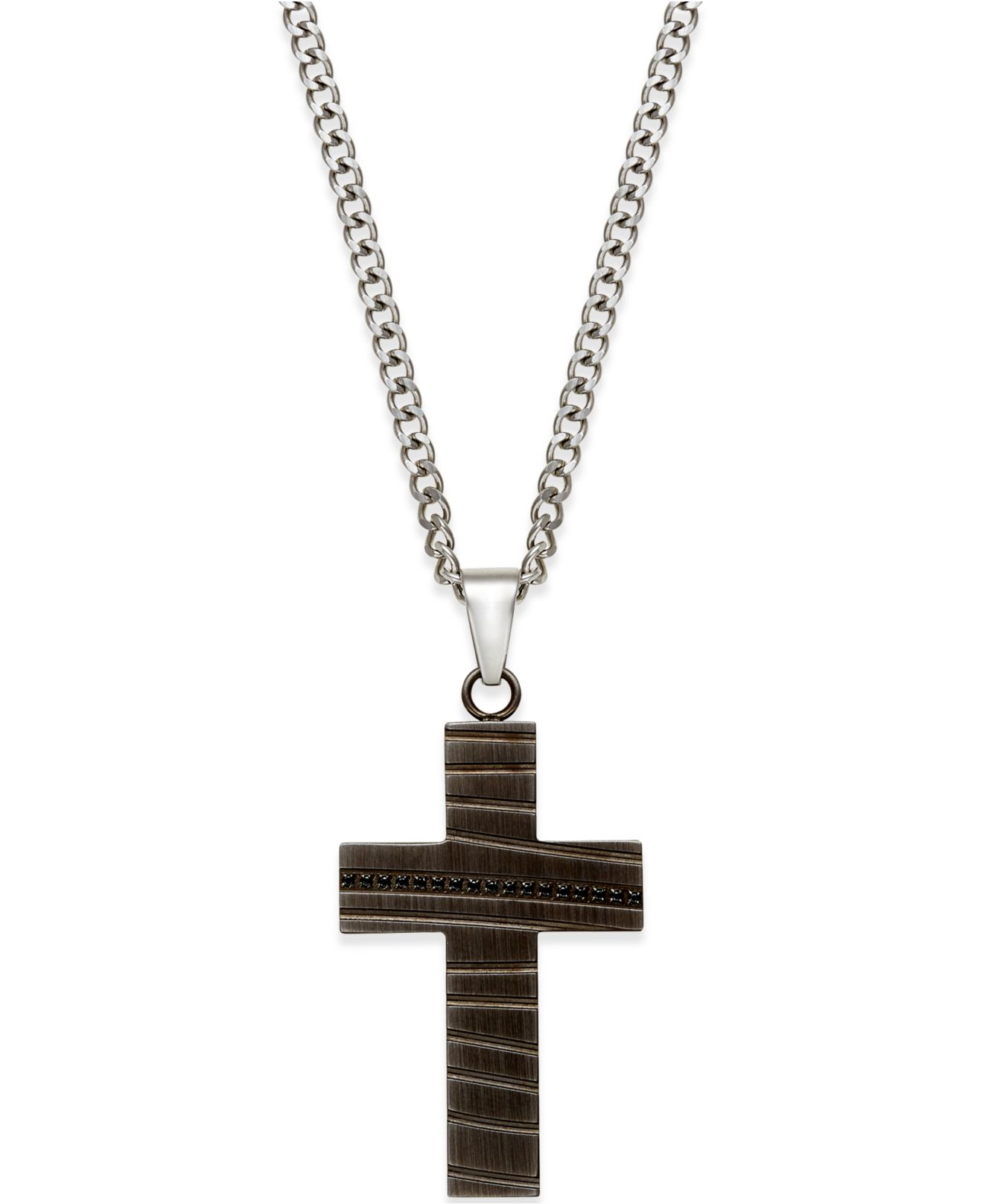 Proposition love Men's Cubic Zirconia Accent Cross Pendant ...